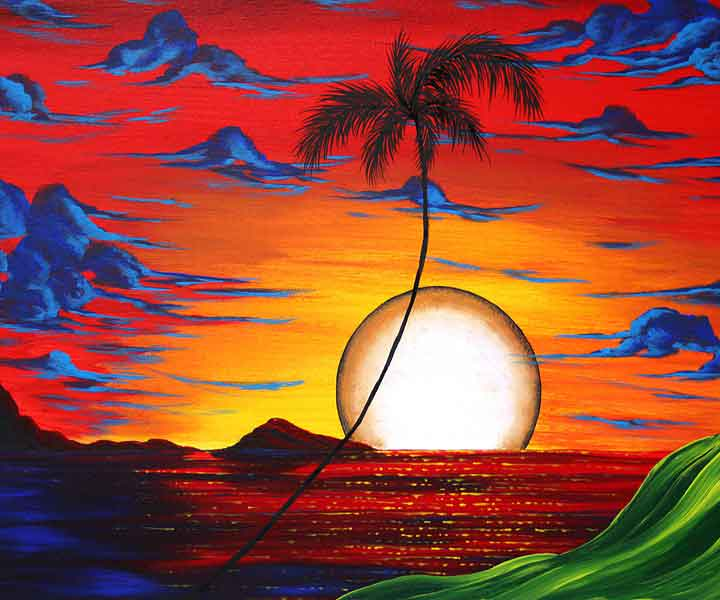 tropical sophisticated whimsy pop art original paintings for